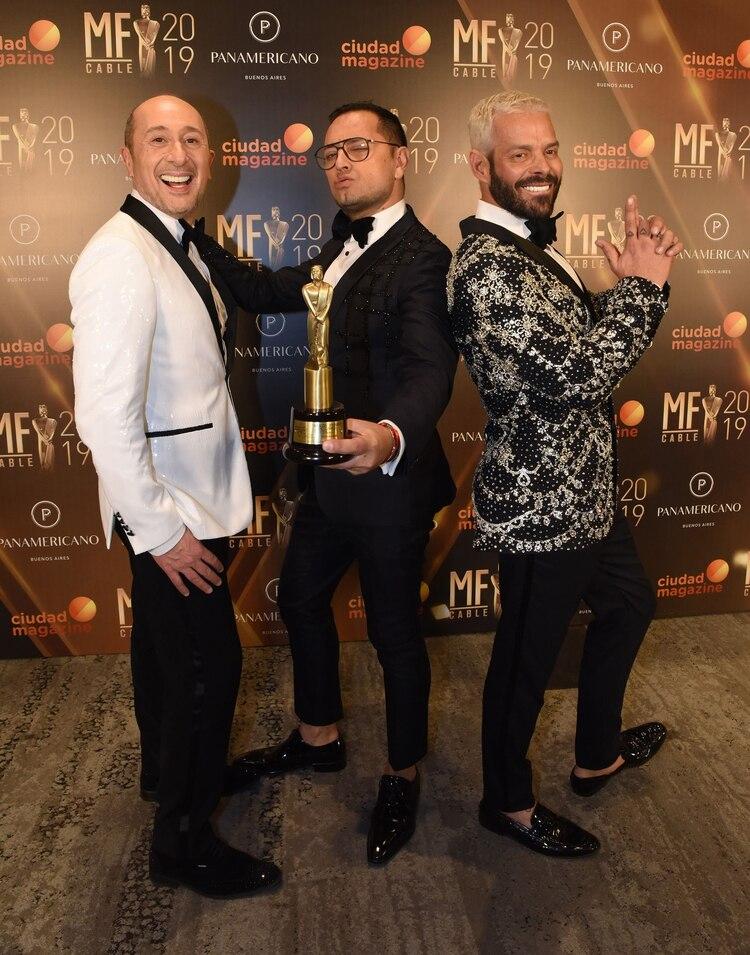 """Claudio Cosano, Fabián Medina Flores y Mariano Caprarola de """"la jaula de la moda"""" (Franco Fafasuli).jpg"""