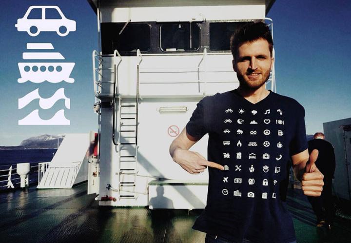 Diseñan una camiseta para viajeros con 40 íconos universales